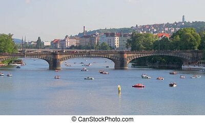 Prague, River Vltava, Paddle Boats - Prague summer, paddle...