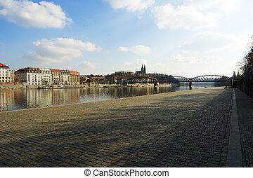 Prague riverbank under Vysehrad