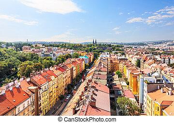 Prague roofs, view from the bridge, Czech Republic