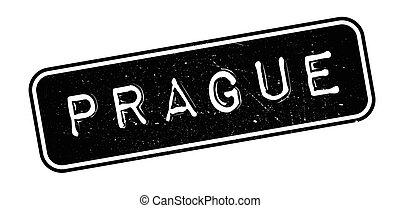 Prague rubber stamp on white. Print, impress, overprint.
