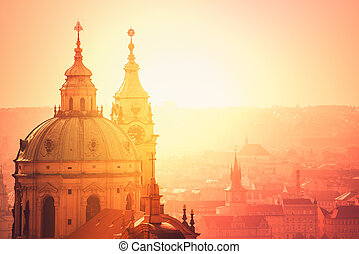 Prague Saint Nicholas Church on Misty Morning