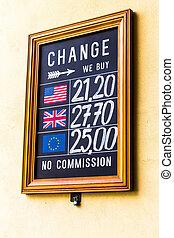 Prague, sign currency change office, Czech Republic
