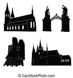 prague, silhouette