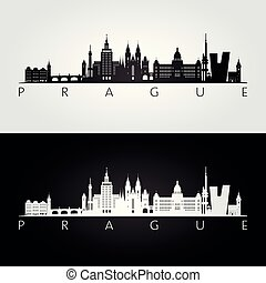 Prague skyline and landmarks silhouette