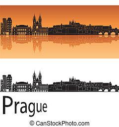 Prague skyline in orange background in editable vector file