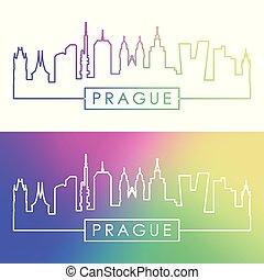 Prague skyline. Colorful linear style.