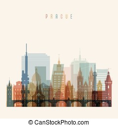 Prague skyline detailed silhouette. Transparent style....