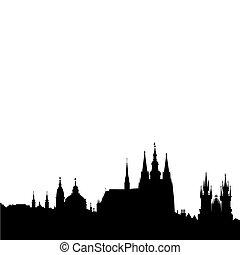 Famous monuments of Prague - Prague castle, church of saint Nikolas, church of Our Lady front Tyn