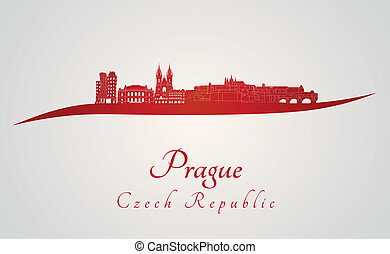 Prague skyline in red and gray background in editable vector...