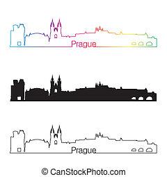 Prague skyline linear style with rainbow in editable vector...