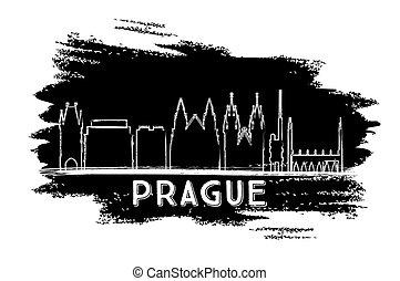Prague Skyline Silhouette. Hand Drawn Sketch. Vector...