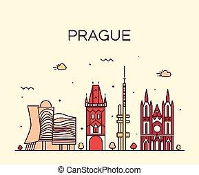 Prague skyline trendy vector illustration linear - Prague...