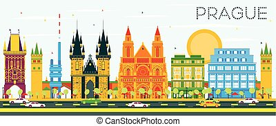 Prague Skyline with Color Buildings and Blue Sky. Vector...