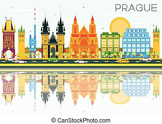 Prague Skyline with Color Buildings, Blue Sky and...