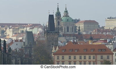 Prague Spires Old Town - Medieval towers and spires in old...