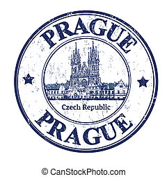 Grunge rubber stamp with the old town square shape and the word Prague written inside, vector illustration