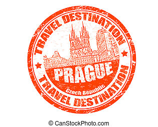 Prague stamp - Grunge rubber stamp with the text travel...