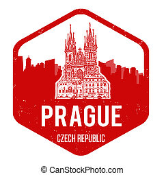 Prague grunge rubber stamp on white, vector illustration