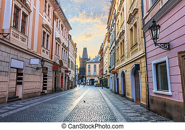 Prague street and the Powder Gate, no people.