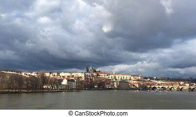 Prague street. Europe Czech Republic famous travel old city. Charles bridge in cityscape
