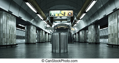 Prague subway station with special photographic processing