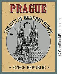 Prague ( The city of Hundred Spires) poster
