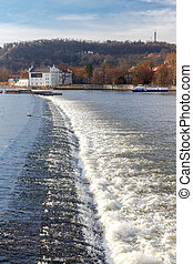 Prague. The dam on the river Vltava.