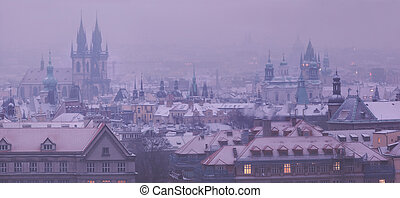 Prague towers before dawn in winter
