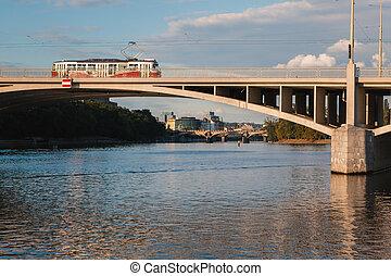 Prague tram on a bridge