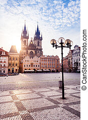 Prague. Tyn Cathedral of the Virgin Mary at sunrise.