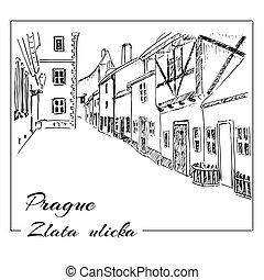 Prague. Vector hand drawn sketch. Zlata ulicka - Golden...