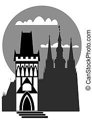 Prague - vector - Illustration of the famous landmarks of...