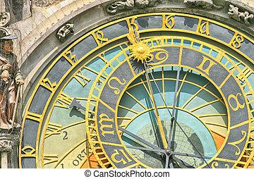 prague, vieux, détail, horloge