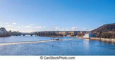 Prague, view of Bridges on Vltava