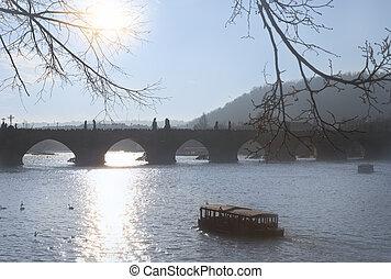 Prague, view of Charles bridge on Vltava