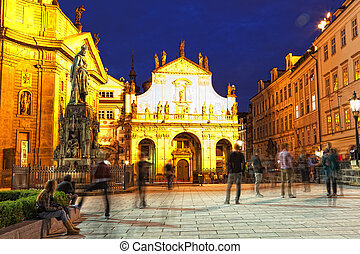 Prague, view of St. Salvator's cathedral at night