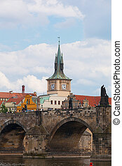 Prague, view of the Vltava River and bridges