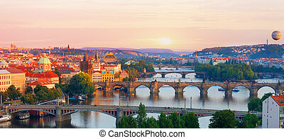 Prague, view of the Vltava River and bridges in the summer evening