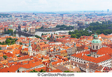 Prague, view of tile roofs of historical part of the city
