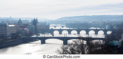 Prague - view with Vltava River, Charles Bridge and bridges