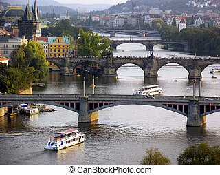 Prague Vlatava River - A general view of the city of Prague,...