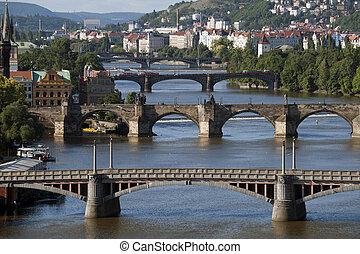 Prague - Vltava River and bridges