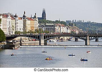 Prague - Vltava River, bridges and Vysehrad