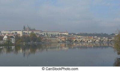 Prague Vltava River - Large view of Vltava river in Prague,...