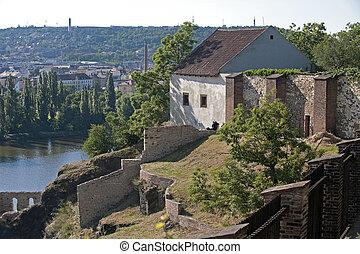 Prague - Vysehrad, ruins of the castle and Vltava River