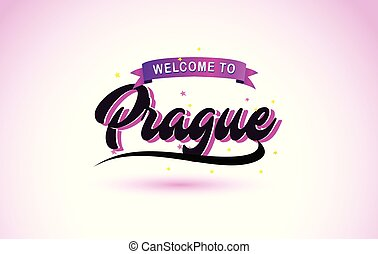 Prague Welcome to Creative Text Handwritten Font with Purple Pink Colors Design.