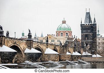 Prague winter morning