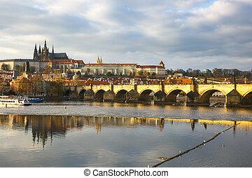 Prague with Charles Bridge and the Hradcany castle - Prague ...