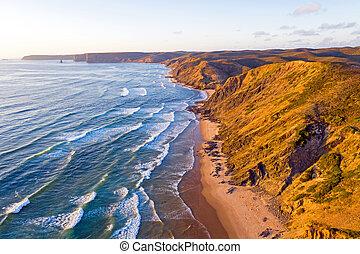 praia, aéreo, figueiras, valle, portugal