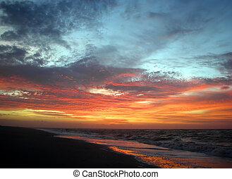 praia, amanhecer